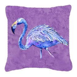 Caroline's Treasures - Flamingo on Purple Fabric Decorative Pillow - Indoor or Outdoor Pillow from heavyweight Canvas. Has the feel of Sunbrella Fabric. 18 inch x 18 inch 100% Polyester Fabric pillow Sham with pillow form. This pillow is made from our new canvas type fabric can be used Indoor or outdoor. Fade resistant, stain resistant and Machine washable..