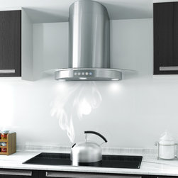"""AKDY 10D1-30 Wall Mount Range Hood in Kitchen - Making a bold statement in your modern kitchen design and utilization! This 30"""" wall mount range hood features a contemporary European style design in high quality stainless steel. The wall-mounted range hood has 760 CFM and features 3x1.5W LED lights which will illuminate all your cooking activities. It also comes with easy-to-remove, dishwasher safe stainless steel grease filter that will keep maintenance to a minimum. The non-return air flap keeps heat from escaping when the hood is not in use. The range hood is made of stainless steel with a brushed stainless steel finish, for certain this will make one piece of classic appliance for your kitchen."""