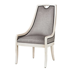 Sterling Industries - Stage Dining Chair - Made from Plantation grown hardwoods this dining The chair is hand finished in antique white. The seat is finished in a grey chenile and the extended chevron pattern fabric used across the back is fun yet sophisticated in tones of grey and white. Nail head trim accents the entire piece. Sturdy enough to be used in commercial settings.