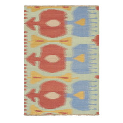 "Torabi Rugs - Flat-weave Ankara Kilim Light Green Wool Kilim 4'8"" x 6'9"" - Inspirational age old tribal geometric designs from Turkish Yomut, Shirvan, Anatolian and Kurdish tribes. These flat-weave embroidered rugs are expertly hand-woven by skilled artisans. Kilims are lightweight and easily transportable. The bold oriental tribal designs will inspire a variety of interiors e from traditional and contemporary to southwestern decors."