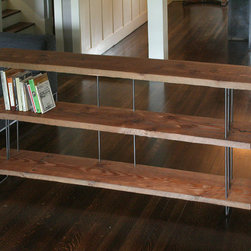 Modern Industrial Bookcase by Birdloft - I like the non-manicured look of this wooden bookshelf. And it's open! It's so much airier than a generic bookshelf.