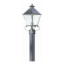Troy Lighting - Troy Lighting Montgomery Traditional Outdoor Post Lantern X-IC2319DCP - From the Montgomery Collection, this Troy Lighting outdoor post lantern combines classic elements with clean lines for a more delicate look. This traditional outdoor lighting fixture features solid brass construction finished in a dark toned Charred Iron hue that pairs well with the classic elegance of the design. Clear seeded glass panels add to the timelessness of the design.