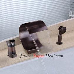 Bathtub Faucets - Oil-rubbed Bronze Finish Antique Waterfall Bathtub Faucet--FaucetSuperDeal.com