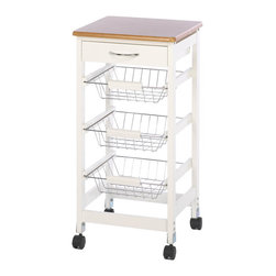 Gifts Galore - Kitchen Side Table trolley - This is the perfect kitchen trolley, featuring three slide-out storage baskets that are perfect for cookbooks, utensils, or fresh produce!  Some assembly required.