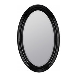 """Cooper Classics - Kincourt Glossy Black Oval Mirror - The lovely kincourt mirror will make a welcome addition to any room.  This beveled wall mirror features a beautiful glossy black finish. Frame Dimensions: 28""""W X 44.5""""H; Mirror Dimensions: 20.5""""W X 37.25""""H; Finish: Glossy Black; Material: Polyurethane; Beveled: Yes; Shape: Oval; Weight: 25 lbs; Included: Brackets, Ready to Hang"""