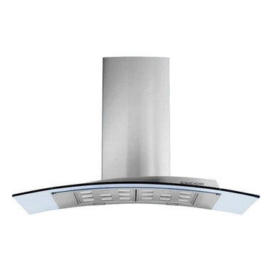"""42"""" Acqualina Glass Island - designer Italian kitchen range hood - The Acqualina line of kitchen range hoods by Futuro Futuro combines graceful form with the enduring shine of stainless steel and tempered glass. Available in 42"""" and 36"""" island-mount versions, as well as 36"""" and 30"""" wall-mount versions. Visit www.FuturoFuturo.com for complete product information, multiple photos, specifications, pricing, and current stock status."""
