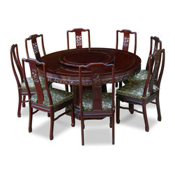 China Furniture and Arts - 60in Rosewood Dragon Round Dining Table with 8 Chairs - This exquisite round dining table set is intricately carved in dragon motif, symbolizing prosperity and good luck in Chinese culture. Completely handmade in solid rosewood by artisans in China, using the traditional joinery technique for long lasting durability. One removable lazy Susan is included for your convenience. Hand applied dark cherry finish.