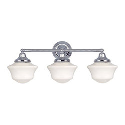 Design Classics Lighting - Schoolhouse Bathroom Light with Three Lights in Chrome Finish - WC3-26 / GC6 - Polished chrome finish bathroom vanity light with Ballard schoolhouse style white glass. Takes (3) 60-watt incandescent A19 bulb(s). Bulb(s) sold separately. UL listed. Dry location rated.