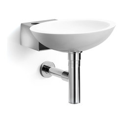 WS Bath Collections - Ciuci 6622.29 Wall mount Bathroom Sink in White/stainless steel - Ciuci 6622.29 Wall mount Bathroom Sink in White/stainless steel