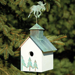 Sleepy Hollow Bird House with Moose Topper - White with Verde Copper Roof - This Sleepy Hollow Bird House with Moose Topper is a perfect fit for any home set in a natural, woodland setting. Made of solid cypress wood with a bright White painted finish, verde copper roof and metal pine tree accents.