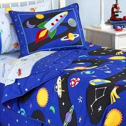 Out of This World Comforter Set - This fun and cheerful bedding has all the elements to rocket the kids off to sweet dreamland.