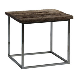 Kathy Kuo Home - Wiese Rustic Lodge Weathered Old Wood Square Side Table - A uniquely distressed piece of weathered wood crowns a polished silver base for an industrial style side table that marries modern and rustic elements. The simple design is the perfect addition to a living room or sitting area. The elegant lines would even make an eclectic night table.