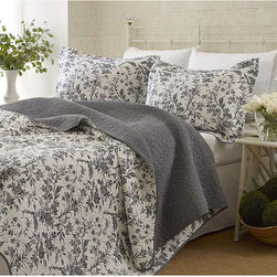 Laura Ashley - Laura Ashley Amberley 3-Piece Quilt Set - This bright floral quilt set is completely composed of cotton and machine washable. Matching shams are included.