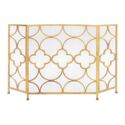 Benzara - Modern Inspired Style The Yellow Metal Fireplace Screen Home Decor 67053 - Modern and classic inspired style the yellow metal fireplace screen living and family room home accent decor