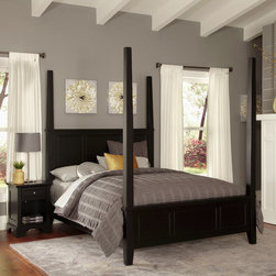 None - Bedford King Poster Bed and Night Stand - Unadorned details such as the straight and curved lines,and slightly flared legs create the contemporary style of the Bedford King Poster Bed and Night Stand by Home Styles. This set is made of hardwood solids and engineered wood in a black finish.