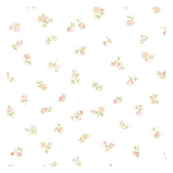 Small Floral in Tan, Pink, and Green - AB31062 - Collection:Abby Rose 2