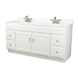 "DHI-Corp - Concord White Gloss Vanity Cabinet with 2-Doors and 4-Drawers, 60"" by 21"" by 30"" - The Design House 541078 Concord White Gloss Vanity Cabinet features a durable white gloss finish and satin nickel hardware. Clean lines and concealed hinges. The 2-door, 4-drawer construction gives you plenty of storage to keep your countertop free of clutter. Easily add an additional shelf inside this cabinet for even more storage. Measuring 60-inches by 21-inches by 30-inches, this vanity fits in larger bathrooms and provides ample storage and counter space to store toiletries for the entire family. Modern construction meshes with subtle vintage details for an elegant addition to your bathroom. This product is perfect for remodeling your bathroom and matches granite countertops and colored walls. Vanity top is not included with this product. The Design House 541078 Concord White Gloss Vanity Cabinet has a 1-year limited warranty that protects against defects in materials and workmanship. Design House offers products in multiple home decor categories including lighting, ceiling fans, hardware and plumbing products. With years of hands-on experience, Design House understands every aspect of the home decor industry, and devotes itself to providing quality products across the home decor spectrum. Providing value to their customers, Design House uses industry leading merchandising solutions and innovative programs. Design House is committed to providing high quality products for your home improvement projects."