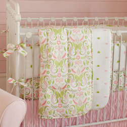 Summer Garden Crib Comforter - Front of comforter features Pink Butterfly, backed with Pink and Lime Puffs, and edged with Pink Butterfly trim.