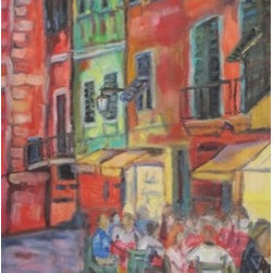 A Gathering Of Friends (Original) By Dixie Galapon - I love this picture because it reminds me of the time I've spent in Florence and Tuscany. If you haven't been - you must! You will experience an energy, and taste amazing food, like no other!