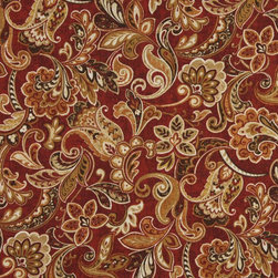 Red Orange And Green Floral Indoor Outdoor Marine Upholstery Fabric By The Yard - This upholstery grade fabric can be used for all indoor and outdoor applications. It is Scotchgarded, and is mildew, fade, water, and bacteria resistant. This fabric is made in America!