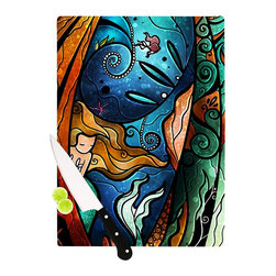 "Kess InHouse - Mandie Manzano ""Fathoms Below Mermaid"" Cutting Board (11"" x 7.5"") - These sturdy tempered glass cutting boards will make everything you chop look like a Dutch painting. Perfect the art of cooking with your KESS InHouse unique art cutting board. Go for patterns or painted, either way this non-skid, dishwasher safe cutting board is perfect for preparing any artistic dinner or serving. Cut, chop, serve or frame, all of these unique cutting boards are gorgeous."