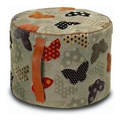 "Missoni Home - Japura Cylindrical Pouf 12"" x  16"" - Features: -The Farfalle Multicolor Collection. -Available in Japura and Jodar fabrics. -Removable cover. -Patent leather handle. -Base: fabric eucla. -Japura material: 72% Viscose - 28% Polyethylene Fibers. -Jodar material: 76% Viscose - 24% Polyethylic Fibers. -Overall Dimensions: 12"" H x 16"" W x16"" D."