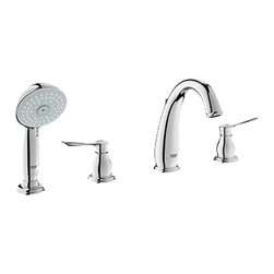 Grohe - Grohe 25153-000 Parkfield Series 4-Hole Roman Tub Trim With Hand Shower - This Parkfield Hole Roman Tub Trim With Hand Shower (25153) Features A Spout With Diverter Assembly To Change The Flow Of Water From The Spout To The Hand Shower And Back. It Comes With A Tempesta Authentic (27608) Hand Shower, And Pressure-Resistant Flexible Connection Hoses (Between Spout And Side Valves). This Model Comes With Grohe'S Starlight Chrome Finish.
