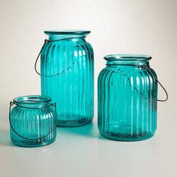 Teal Ribbed Glass Lantern Candleholder -