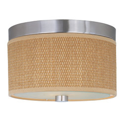 ET2 Lighting - Elements 2-Light Flush Mount - The Elements collection offers the freedom of choice in lighting design. Start with the style selection - pendant, mini pendant, or wall sconce - then choose the right shape, square or circular, for the space. Wrap the selected Oil Rubbed Bronze or Satin Nickel lamp in one of five color options that will make just the right statement: Grass Cloth, White Weave, White Pleat, Crimson or Satin White. Finally, choose the perfect light source for the task. Whether fluorescent, xenon, or incandescent, this collection brings together all the right elements.
