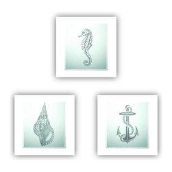 Studio D&K - Beach House Nautical Art Set of Prints in Cool Coastal Shades of Blue - Nautical Art Set of Three 12x12  Fine Art Prints