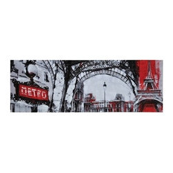 Ren-Wil - Ren-Wil OL917 Urban Paris Horizontal Canvas Wall Art by Giovanni Russo - The best of Paris is depicted in modern black, white and red in this hand embellished piece.