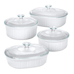 Corningware - Corningware French White 8-Piece Set - Store your food in this durable and stylish eight-piece set from CorningWare. A stoneware construction with glass lids complete this dishwasher-safe set.