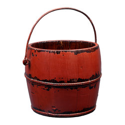Antique Revival - Red Vintage Yavapai Bucket - This vintage, wooden kitchen bucket adds a fun, country touch to your existing decor. The lightly distressed, red paint brings in a splash of color, and the iron handle and banding add an old-fashioned vibe. This bucket works great both indoors and outdoors.