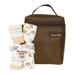 "Trend Lab - Bouquet Set - Morgan The Monkey - Bottle Bag & Burp Cloth - Trend Lab's Morgan the Monkey Bottle Bag and Burp Cloth Set is the perfect gift for any mom to be! Set includes a solid brown insulated bottle bag and four burp cloths each with fun, modern printed cotton on the front and terry on the back. Zippered closure on the bottle bag allows temperature control keeping bottles and snacks hot or cold. Durable nylon fabric easily wipes clean. Bottle bag can hold 2 standard bottles. Burp cloth patterns include: two with a cute monkey and banana scatter print in cream, wheat, brown sugar and meadow green with chocolate accents, one stripe print in cream, wheat, brown sugar, meadow green and chocolate and one oversized dot print in cream, wheat, brown sugar and meadow green. Bottle bag measures 5"" x 7"" x 3"" and each burp cloth measures 13"" x 10""."