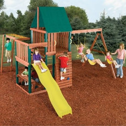Swing-N-Slide Chesapeake Wood Swing Set - The Swing-N-Slide Chesapeake Wood Swing Set is a ready-to-assemble play set with everything you need in one box. Featuring the award-winning Rapid-LOC bracket system this system is easy to assemble and all the components are included. All you need are a few common household tools. The wood is pre-cut and stained and there are six pieces of plastic coated lumber for structural stability and lower maintenance. Self-drilling fasteners are even included to eliminate drilling and a torx-head bit to assist you in building. Your children and their friends will have hours of fun on the wave side and the heavy-duty swings. There's also a ring/trapeze combo monkey bars a rock-climbing wall and more.This product carries a 5-year warranty. This warranty is valid only if the product is used for the purpose for which it was designed and installed at a residential single family dwelling. Swing N Slide products are rated and tested for residential use only.Swing Set Includes:All necessary screws nuts bolts washers bits etc. for assemblyAll necessary Rapid-LOC brackets for easy assembly2 swing seats and 6 swing hangers1 canopy1 instructional plan 1 instructional DVD8 climbing rocks1 ring/trapeze combo1 wave slide4 safety handle9 metal rungs120 pieces of pre-cut lumber6 pieces plastic coated lumber Tools You Will Need:Electric drillHammerTape measureSafety glasses and dust maskCarpenter's square About Swing-N-SlideFounded in 1985 Swing-N-Slide was America's first manufacturer of do-it-yourself wooden playground products. This remarkable company designs manufactures and distributes residential and commercial play sets across the nation. Committed to safety and driven by a desire to provide compliant fun and value-packed products Swing-N-Slide backs every play set with quality and pride. They offer unparalleled value and the unique opportunity to tailor playground products to your specific needs and budget.