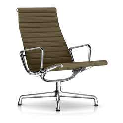 Herman Miller - Herman Miller Eames Aluminum Lounge Chair, Fabric - This lounge-worthy chair invites you to take a seat, kick back and relax. With all the design hallmarks that made the iconic team of Charles and Ray Eames famous, its clad in leather for a look that's unmistakably modern.