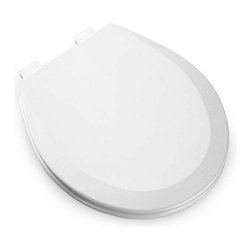 Bemis Toilet Seats - Bemis 500EC Round White Wood Toilet Seat - B500EC000 - Shop for Seats from Hayneedle.com! The Bemis 500EC Round White Wood Toilet Seat offers a comfortable sleek design in a wood seat. It offers an attractive white three-layer multi-coat enamel finish with color-matched components and non-corrosive hardware. Perfect for a variety of bathroom decor settings. Renowned for its high-quality bathroom fixtures and design the Bemis company stands for durability and innovation. Part of their organization includes manufacturing Church brand toilets and accessories which are well known for their residential applications. All under the respected name of Bemis these toilet and accessory items are part of well-designed bathrooms around the world.