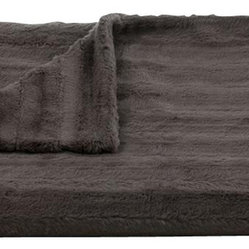 Lux Channel Stripe Charcoal Rosebud Throw
