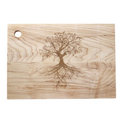 Richwood Creations - Large Engraved Tree Wood Cutting Board - Made from reclaimed wood, this rustic cutting board exemplifies eco-friendliness, so it's only fitting that it's engraved with a beautiful tree with strong roots and high-reaching branches.