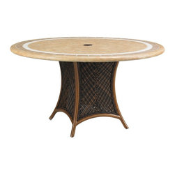 Lexington - Tommy Bahama Island Estate Lanai Round Dining Table Base - The shapely silhouette of the table base for the 54 inch diameter tops boasts the twisted, complex weave of the woven rattan, in the handsome warm umber finish. Yet the design also provides the proper support for the stone or weather stone tops.