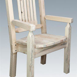 """Montana Woodworks - 18 in. Captains Chair - Handcrafted. Rustic timber frame design. Heirloom quality. Lodge pole pine legs. Comfortable slat style back increases comfort. Standard ergonomic wooden seat. Made from solid U.S. grown wood. Made in USA. No assembly required. Seat height: 18 in.. Overall: 19 in. W x 18 in. D x 38 in. H (25 lbs.). Warranty. Ready to Finish. Use and Care InstructionsThe Captain's Chair is the perfect addition to your dining set. Placed at the head of the table or used all around, these chairs are sure to please the """"Captain"""" of your table!"""