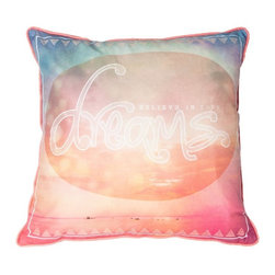 Dream Decorative Pillow - Bright and beautiful this unique typography pillow from the Graham & Brown collection is perfect to bring colour and life into you home. Featuring a idellic landscape with the feel good words 'Dream and big as the ocean' this pillow is sure to bring a feel good atmosphere into your home. Made from 100% cotton at the beautiful size of 50x50cm and generously filled with polyester hollow fibre this quirky pillow is both plush and cosy. Featuring a complimenting coloured back and colour co-ordinating piping and zip each pillow in our unique range is finished to perfection.