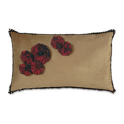 Frontgate - Spanish Rose Pillow - Made by Eastern Accents. Blackwork pillow is individually hand-painted and includes a corded edge. Rose pillow has applied flowers and a braided edge. Fully lined 100% velvet, front and back. Zipper closure. Add color, texture, and whimsy to your home with our handmade Spanish Throw Pillows. Inspired by the beatuy of Barcelona, these gorgeous velvet pillows are sure to brighten any room.  .  . . Fully lined . 100% velvet, front and back .  . Down insert . Because this bedding is specially made to order, please allow 4-6 weeks for delivery.. Made in USA.
