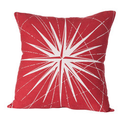 Cricket Radio - Montauk Compass Rose Pillow, Red/White - Guide your room in the right style direction. This handmade 20-inch-square pillow features a compass pattern printed in ecofriendly inks on Italian linen, a removable down insert and comes in your choice of colors to easily coordinate with your space.