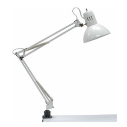 Studio Designs - Swing Arm Lamp with Bulb - Flexible Arm Extends Up to 36 in. .  High Gloss Finish .  Steel Spring and Tension Control Knobs .  Clamp Mounts Easily to All Studio Designs Tables .  100 Watt Incandescent UL & CUL Approved .  13 Watt CFL Bulb Included. Overall Dimensions: 6.5 in. W x 17 in. D x 36 in. H