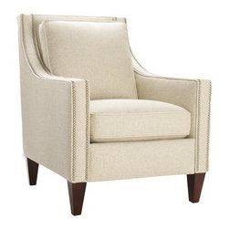 Homeware Pryce Accent Chair - Add classic sophistication and elegance to your home with the beautiful Homeware Pryce Accent Chair. Available in your choice of beautiful colors, this gorgeous chairs features long, modern track arms outlined in a double row of pewter nailhead trim, bringing out the beauty and luxurious style of the chair. Its gorgeous wood frame is finished in a rich espresso, highlighting the classic lines and understated beauty.Not available for sale in, or delivery to, the state of California.