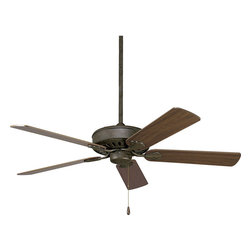 "Progress Lighting - Progress Lighting P2503-46 Airpro Performance 52"" 5-Blade Weathered Bronze Ceili - 52"" Performance fan includes 5 reversible Oak or Dark Teak blades, Weathered Bronze finish, and lifetime limited warranty. Powerful AirPro motor features 3-speed, triple-capacitor control that can also be reversed to provide year-round comfort. Standard canopy is designed for sloped ceilings with 12:12 pitch and is Energy Star certified. Sure Connect blade attachment system and 3/4"" x 6"" downrod are also included."