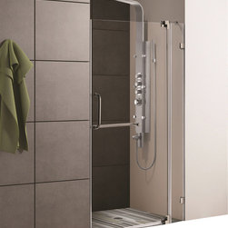 Vigo - 42in.  Frameless Shower Door 3/8in.  Clear Glass Brushed Nickel Hardware - Experience fine quality combined with superior design in a VIGO frameless shower door.