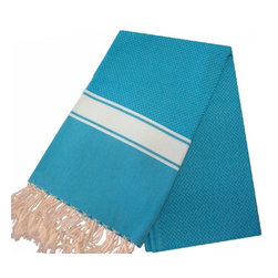Scents and Feel Towel - Scents and Feel 100-Percent Cotton Beach Towel with Big Stripe on Each Side - Very absorbent and airy, these soft cotton fouta towels can be used as bath towels, beach towels, table runners, throws for sofas, or shawls.