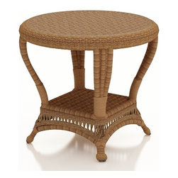 Forever Patio - Catalina Outdoor Wicker End Table, Straw Wicker - Keep everything you need within easy reach with the traditionally styled Forever Patio Catalina End Table in Straw Wicker (SKU FP-CAT-ET-ST). The UV-protected, straw-colored wicker incorporates subtle shifts in tones, providing a look that is complex and beautiful. A tempered glass top is optionally available with this table.